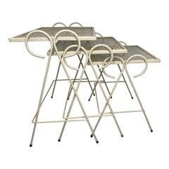 Mid-Century Wrought Iron Nesting Tables Attr. Salterini, Set of 3