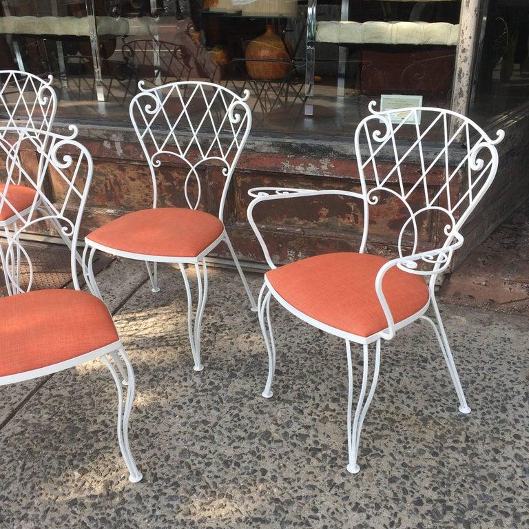 Mid-Century Modern Mid Century Wrought Iron Patio Garden Dining Chair Set For Sale