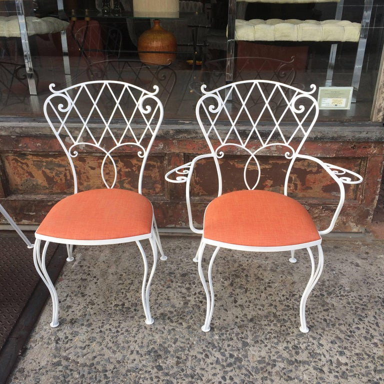 20th Century Mid Century Wrought Iron Patio Garden Dining Chair Set For Sale