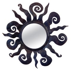 Midcentury Wrought Iron Sunburst Mirror Attributed to Sergio Bustamante