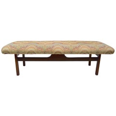 Mid Century y Bench with Wood Base and Upholstered Top