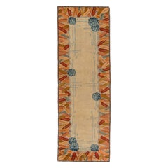 Midcentury Yellow and Beige Handwoven Wool Art Deco Rug