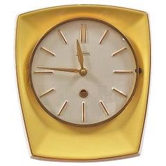 Midcentury Yellow Ceramic Wall Clock by Kaiser