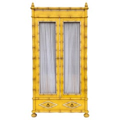 Midcentury Yellow French Style Faux Bamboo Armoire or Cabinet