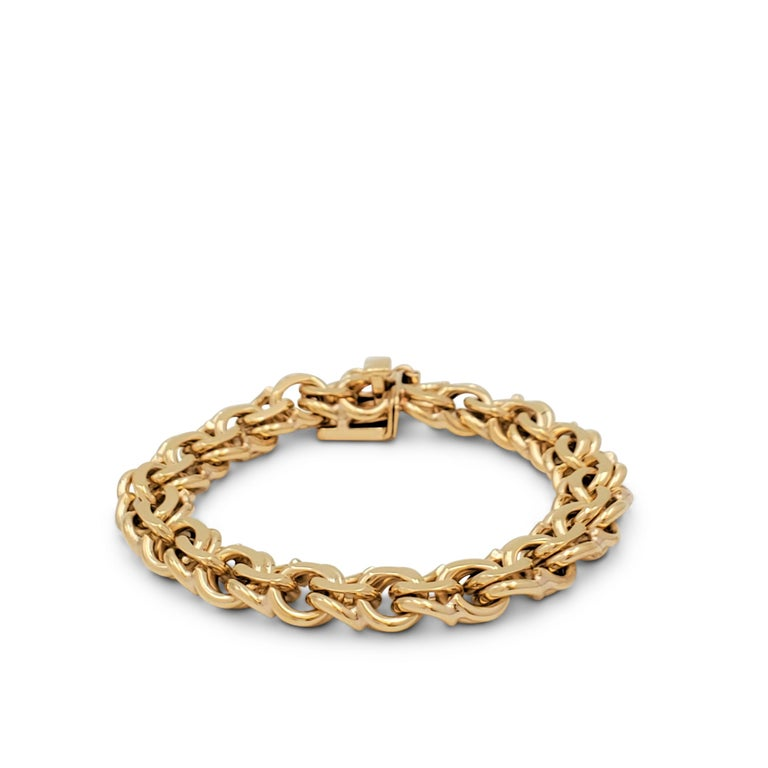 A fancy link bracelet crafted in 14 karat yellow gold with a box clasp. Marked 14K. The bracelet is not presented with the original box or papers. CIRCA 1950-1960s.  Bracelet Length: 7 1/2 inches Box: No Papers: No