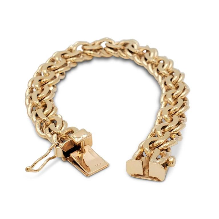 Midcentury Yellow Gold Fancy Link Bracelet For Sale 1