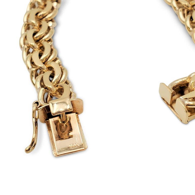 Midcentury Yellow Gold Fancy Link Bracelet For Sale 2