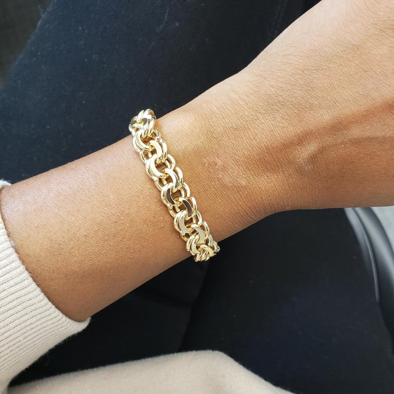 Midcentury Yellow Gold Fancy Link Bracelet For Sale 3