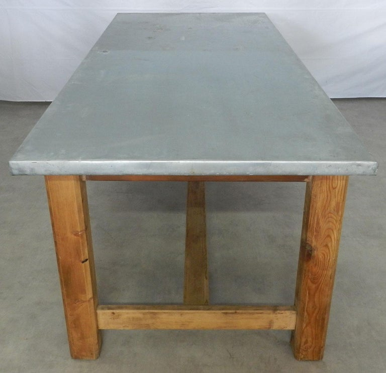 midcentury zinc top kitchen dining table french pine