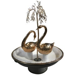 Mid-Century Modern Italian Fountain with Gilt Brass Swans and Weeping Willow
