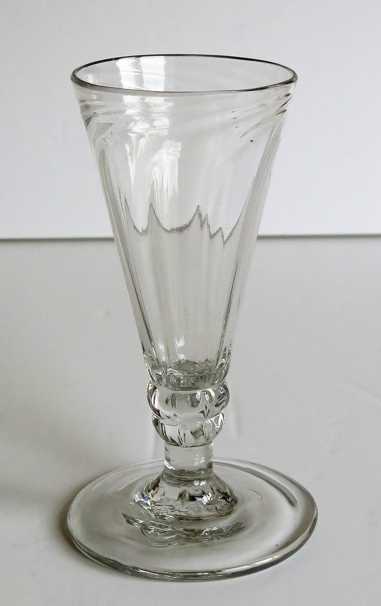 Mid-Georgian Dwarf Ale Drinking Glass Wrythen Bowl Hand Blown English circa 1760 For Sale 5