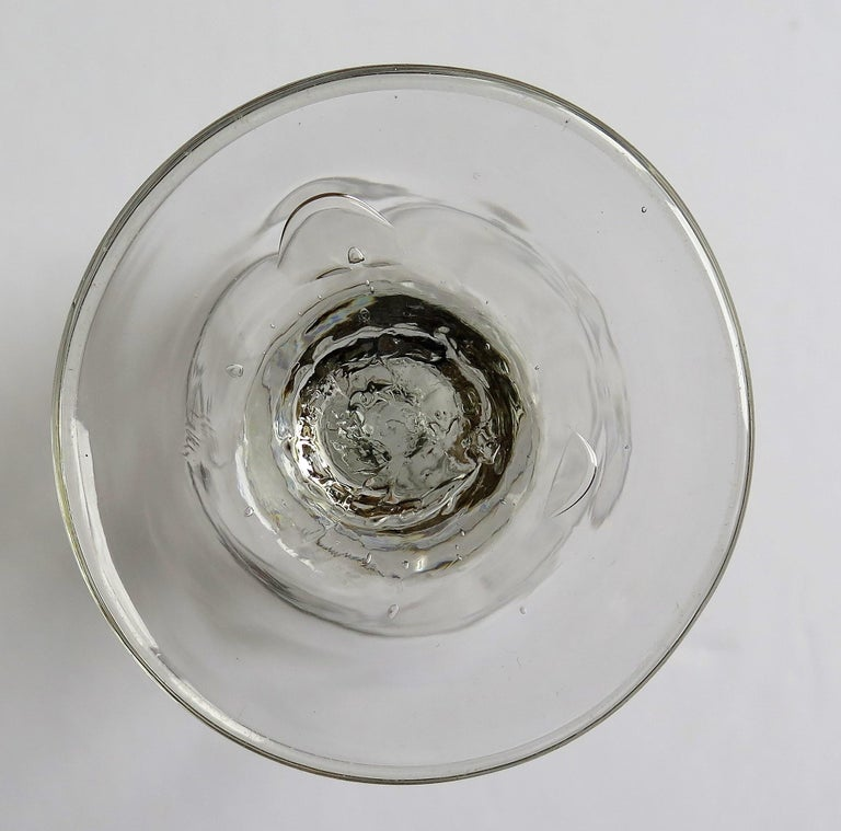 Mid-Georgian Dwarf Ale Drinking Glass Wrythen Bowl Hand Blown English circa 1760 For Sale 14