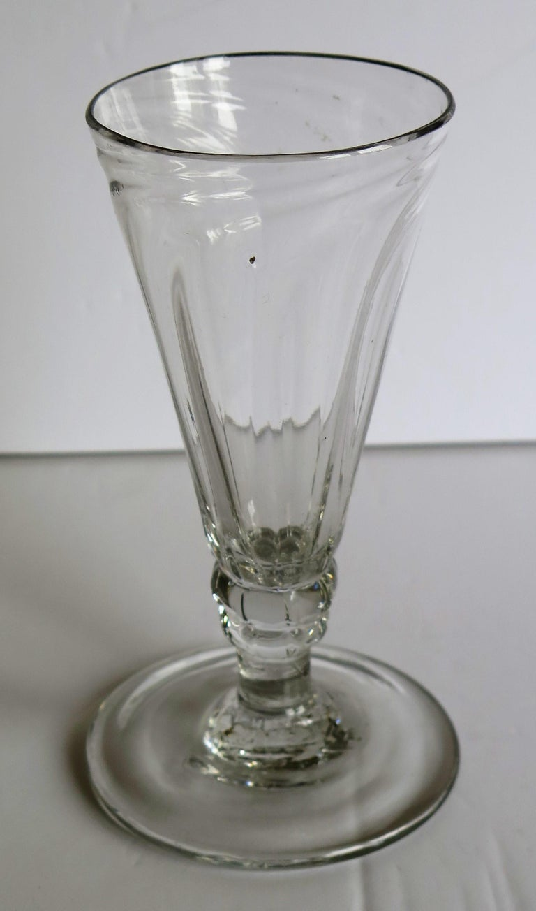 Mid-Georgian Dwarf Ale Drinking Glass Wrythen Bowl Hand Blown English circa 1760 For Sale 3