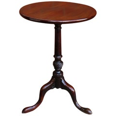 Mid Georgian Solid Mahogany Tripod or Wine Table One Piece Tilt Top, circa 1760