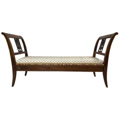 Mid-Late 19th Century Louis Philippe Style Antique Walnut Banquette Bench