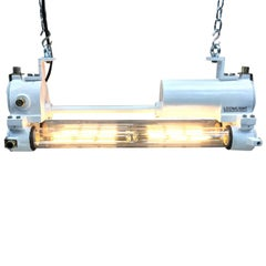 Mid-Late Century Industrial Aluminium and Brass Flame Proof Strip Light, White