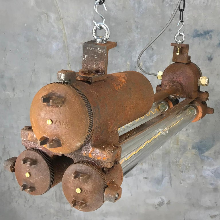 Mid-Late Century Industrial Aluminium and Brass Flame Proof Strip Light - Rust For Sale 3