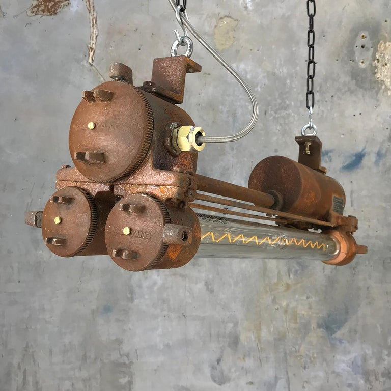 Mid-Late Century Industrial Aluminium and Brass Flame Proof Strip Light - Rust For Sale 4