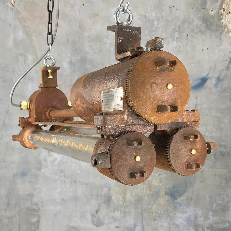 Mid-Late Century Industrial Aluminium and Brass Flame Proof Strip Light - Rust For Sale 6