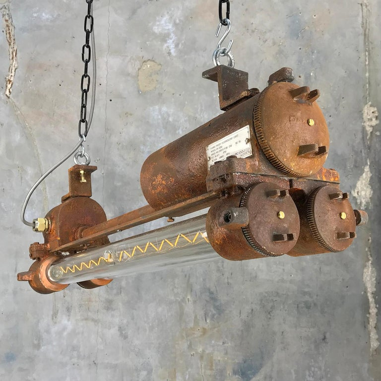 Mid-Late Century Industrial Aluminium and Brass Flame Proof Strip Light - Rust For Sale 8