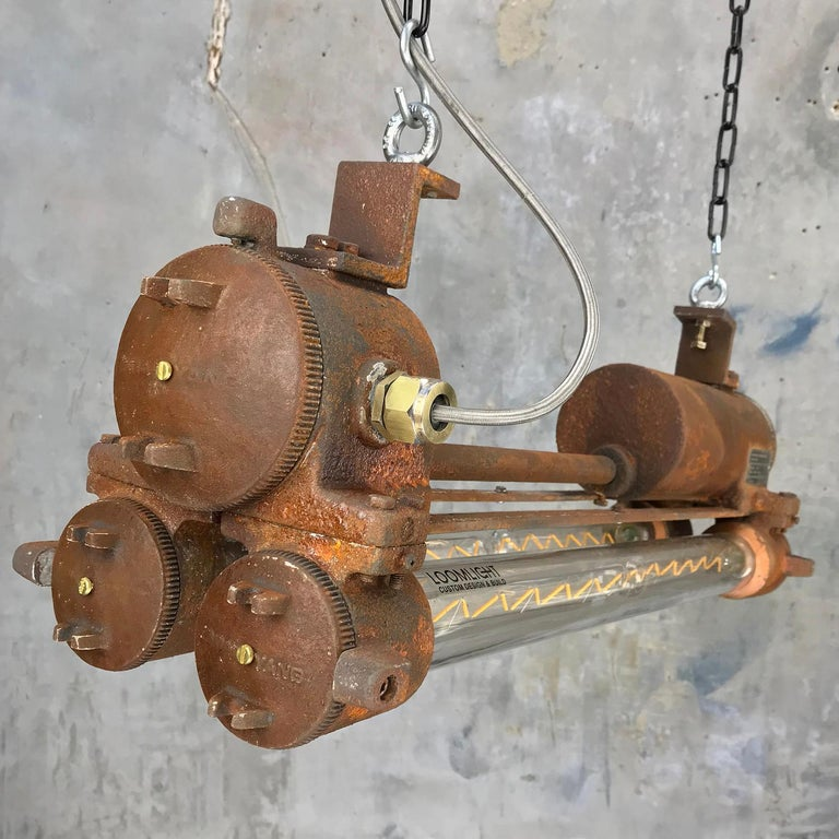 Mid-Late Century Industrial Aluminium and Brass Flame Proof Strip Light - Rust For Sale 13
