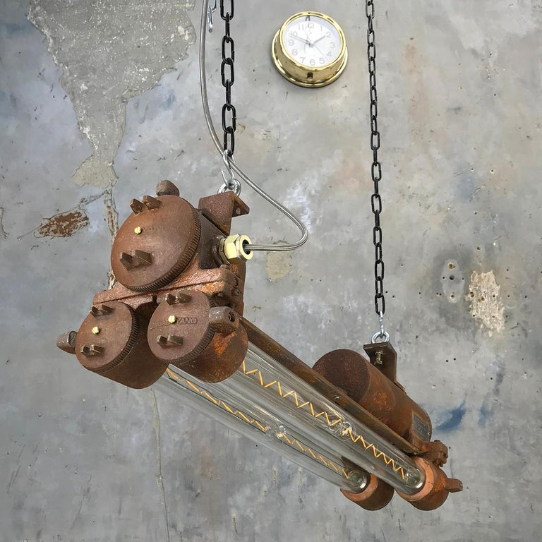 Mid-Late Century Industrial Aluminium and Brass Flame Proof Strip Light - Rust For Sale 2