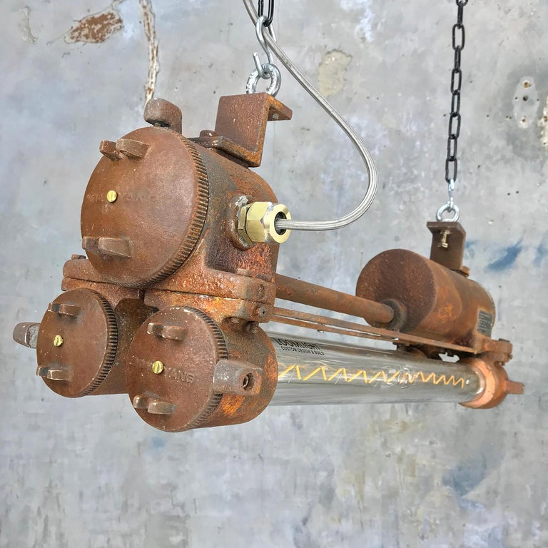 Mid-Late Century Industrial Aluminium and Brass Flame Proof Strip Light - Rust For Sale 1