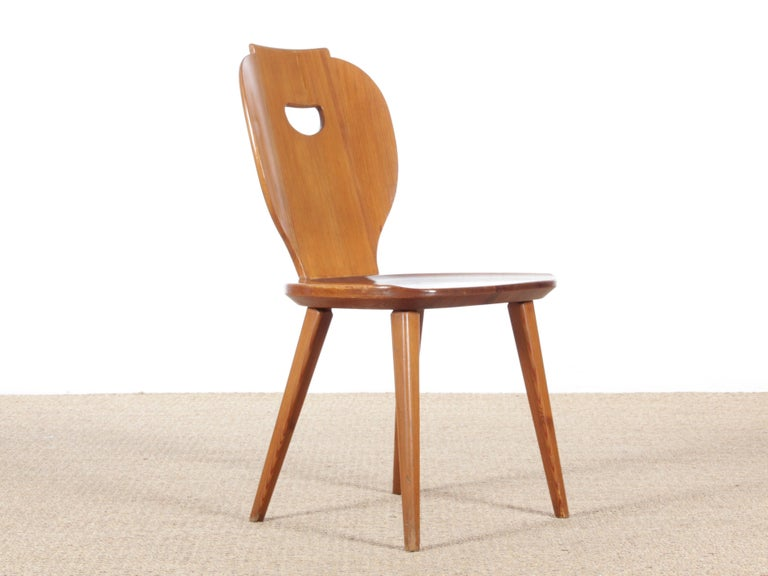 Swedish Country style side chairs in pine by Carl Malmsten for Svensk Fur.