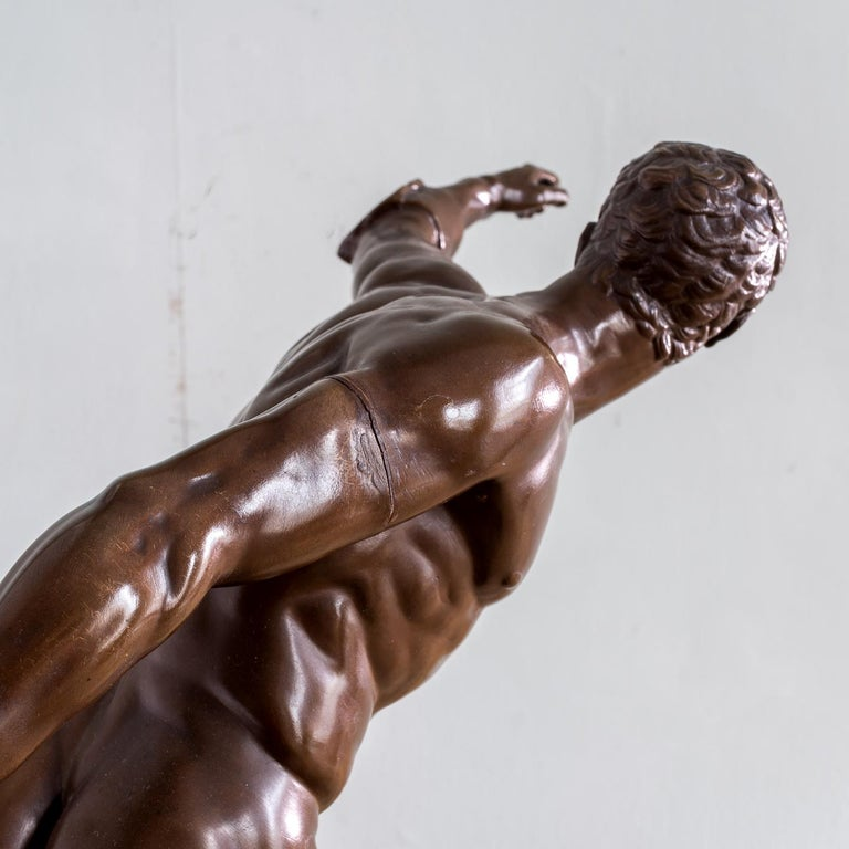 Mid-19th Century French Bronze Figure of the Borghese Gladiator For Sale 5