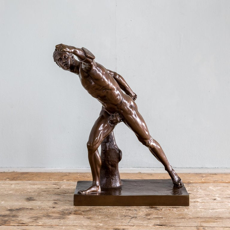 Classical Roman Mid-19th Century French Bronze Figure of the Borghese Gladiator For Sale