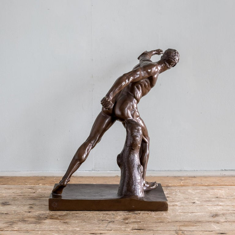 Cast Mid-19th Century French Bronze Figure of the Borghese Gladiator For Sale