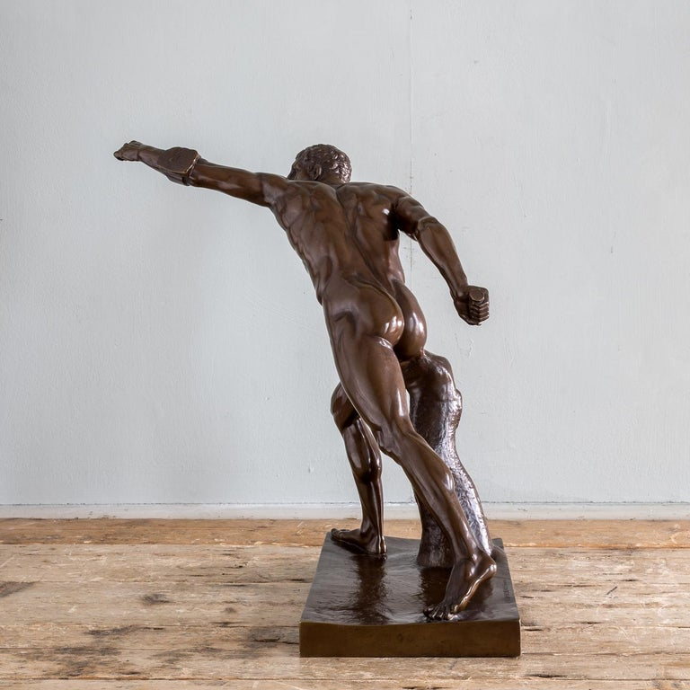 Mid-19th Century French Bronze Figure of the Borghese Gladiator For Sale 1
