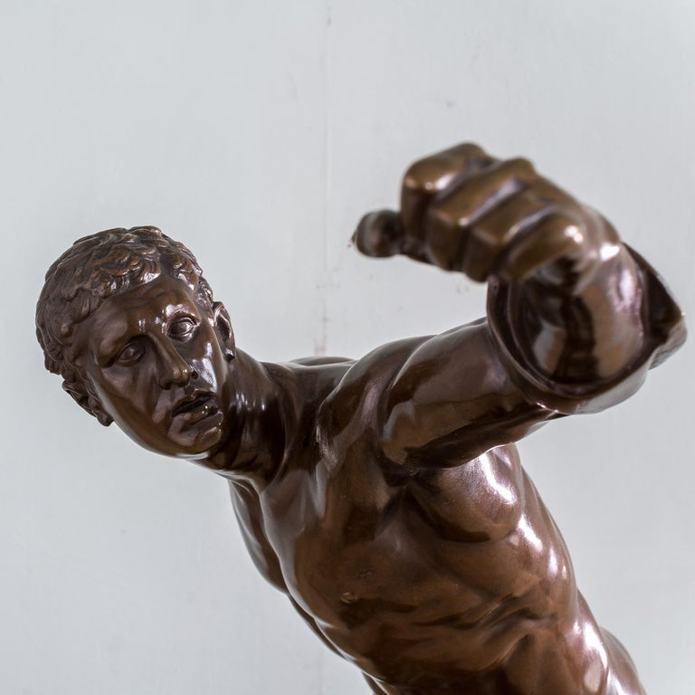 Mid-19th Century French Bronze Figure of the Borghese Gladiator For Sale 2