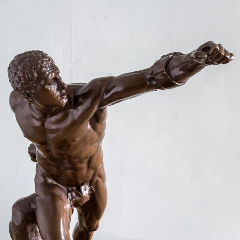 Mid-19th Century French Bronze Figure of the Borghese Gladiator For Sale 3
