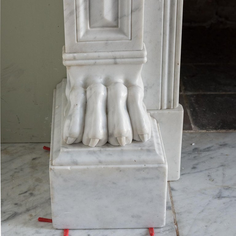 Mid-19th Century French Empire Carrara Marble Chimneypiece For Sale 7