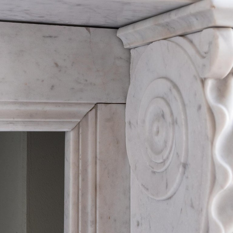 Mid-19th Century French Empire Carrara Marble Chimneypiece For Sale 9
