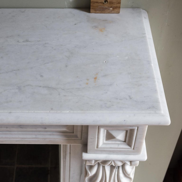 Mid-19th Century French Empire Carrara Marble Chimneypiece For Sale 11