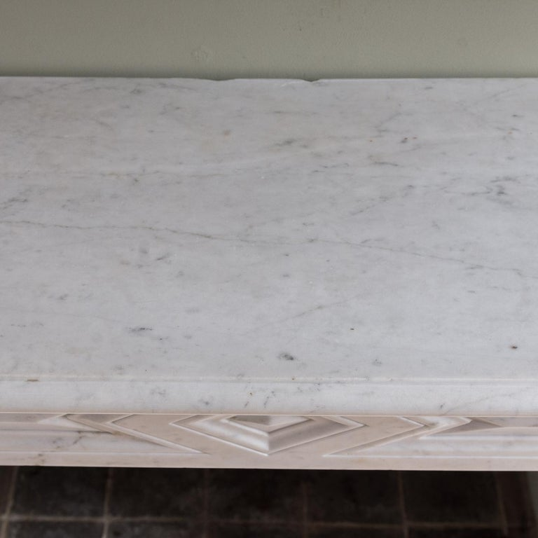 Mid-19th Century French Empire Carrara Marble Chimneypiece For Sale 12