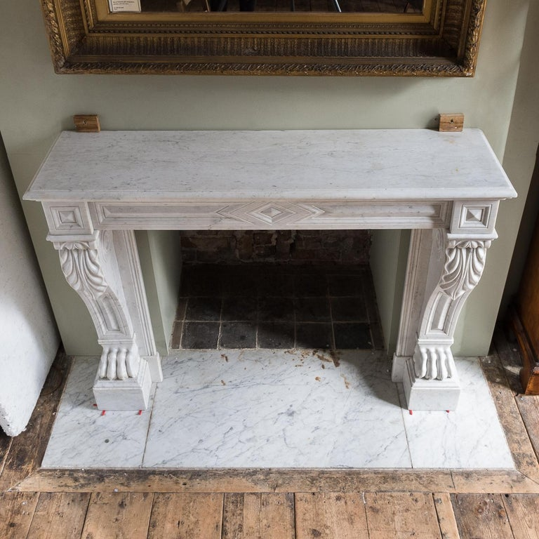 Mid-19th Century French Empire Carrara Marble Chimneypiece For Sale 14