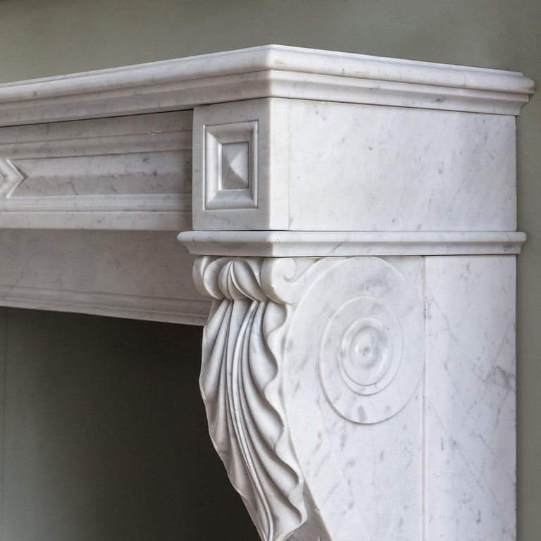 Mid-19th Century French Empire Carrara Marble Chimneypiece For Sale 4
