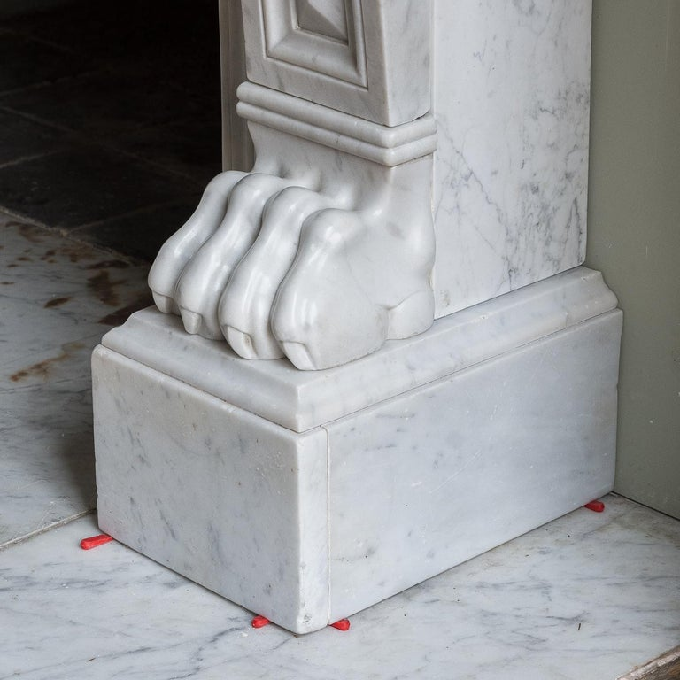 Mid-19th Century French Empire Carrara Marble Chimneypiece For Sale 5