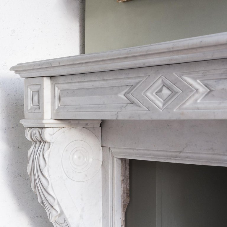 Mid-19th Century French Empire Carrara Marble Chimneypiece For Sale 6
