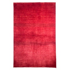 Mid-Size Bold Red Contemporary Tribal Landscape Gabbeh Persian Wool Rug