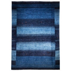 Mid-Size Deep Blue Contemporary Tribal Design Gabbeh Persian Wool Rug