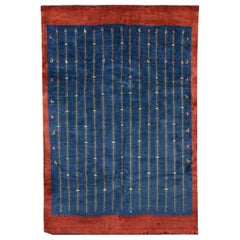 Mid-Size Indigo Blue and Red Contemporary Tribal Design Gabbeh Persian Wool Rug