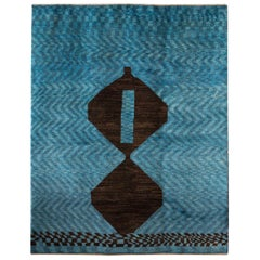 Mid-Size Blue Contemporary Tribal Design Gabbeh Persian Wool Rug