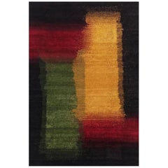 Mid-size Abstract Gold, Red and Green Contemporary Gabbeh Persian Wool Rug