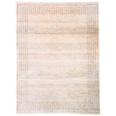 Mid-Size Neutral Contemporary Gabbeh Persian Wool Rug