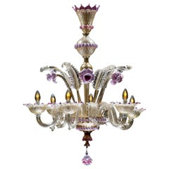 Mid-Sized Golden Purple Colored Italian Murano Glass Chandelier, Italy, 1960