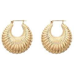 Mid Sized Hoop Earrings Vintage 14 Karat Gold Puffed Shell Design Jewelry